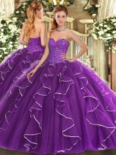 Purple Sleeveless Floor Length Beading and Ruffles Lace Up 15 Quinceanera Dress