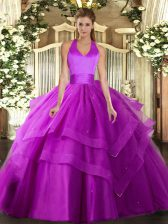 Floor Length Fuchsia Sweet 16 Dresses Tulle Sleeveless Ruffled Layers