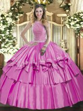 Designer Lilac Sleeveless Organza and Taffeta Lace Up Vestidos de Quinceanera for Military Ball and Sweet 16 and Quinceanera