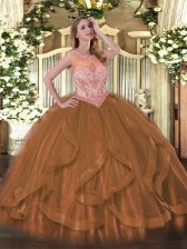 Sleeveless Floor Length Beading and Ruffles Lace Up Ball Gown Prom Dress with Brown