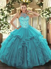 Dazzling Teal Halter Top Neckline Beading and Embroidery and Ruffles Quinceanera Gowns Sleeveless Lace Up