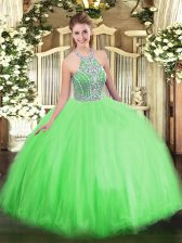 Perfect Quince Ball Gowns Military Ball and Sweet 16 and Quinceanera with Beading Halter Top Sleeveless Lace Up