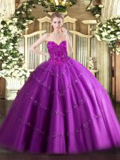 Sophisticated Fuchsia Sleeveless Tulle Lace Up Quince Ball Gowns for Military Ball and Sweet 16 and Quinceanera
