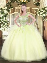 Modern Light Yellow Sleeveless Beading Floor Length Sweet 16 Dresses