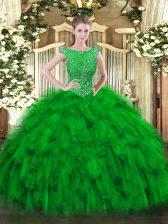 Scoop Sleeveless Zipper Sweet 16 Dress Green Organza