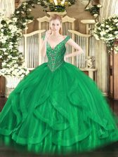 Chic V-neck Sleeveless Lace Up Quinceanera Dresses Green Tulle