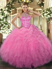 Decent Rose Pink Sleeveless Beading and Embroidery and Ruffles Floor Length Ball Gown Prom Dress