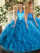 Sleeveless Floor Length Ruffles Lace Up Sweet 16 Quinceanera Dress with Baby Blue