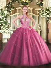 Halter Top Sleeveless Tulle Vestidos de Quinceanera Lace and Appliques Lace Up