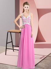 Comfortable Lace Prom Dress Rose Pink Zipper Sleeveless Floor Length