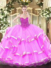 Decent Floor Length Lace Up Quinceanera Dresses Fuchsia for Military Ball and Sweet 16 and Quinceanera with Lace