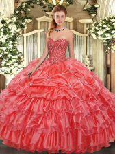 Sleeveless Floor Length Beading and Ruffles and Pick Ups Lace Up 15 Quinceanera Dress with Coral Red