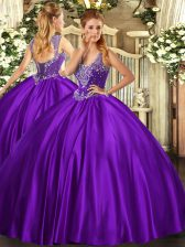 Adorable Beading Sweet 16 Dress Purple Lace Up Sleeveless Floor Length