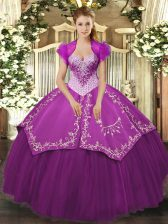 Smart Purple Vestidos de Quinceanera Military Ball and Sweet 16 and Quinceanera with Beading and Embroidery Sweetheart Sleeveless Lace Up