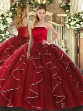 Floor Length Lace Up Quinceanera Dress Wine Red for Military Ball and Sweet 16 and Quinceanera with Ruffled Layers