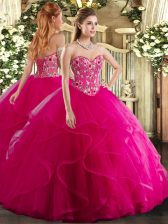 Nice Organza Sleeveless Floor Length Sweet 16 Dress and Embroidery and Ruffles