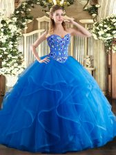 Royal Blue Sleeveless Embroidery and Ruffles Floor Length Quinceanera Gowns