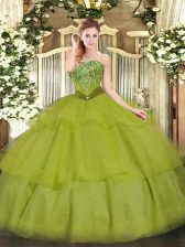 Strapless Sleeveless Sweet 16 Dresses Floor Length Beading and Ruffled Layers Olive Green Tulle