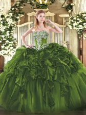 Wonderful Olive Green Ball Gowns Organza Strapless Sleeveless Beading and Ruffles Floor Length Lace Up Quinceanera Dress