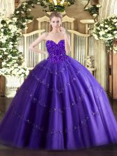Best Purple Lace Up Quinceanera Dress Appliques Sleeveless Floor Length