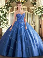 Ideal Blue Ball Gowns Tulle Sweetheart Sleeveless Appliques and Embroidery Floor Length Lace Up 15 Quinceanera Dress
