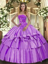 Smart Lavender Lace Up Strapless Beading and Ruffled Layers 15th Birthday Dress Organza and Taffeta Sleeveless