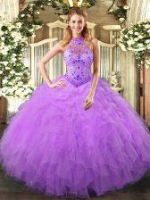 Halter Top Sleeveless Vestidos de Quinceanera Floor Length Beading and Ruffles Lavender Organza
