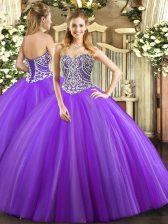 Floor Length Lavender Quinceanera Dress Tulle Sleeveless Beading