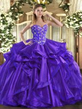Purple Ball Gowns Organza Sweetheart Sleeveless Embroidery and Ruffles Floor Length Lace Up Sweet 16 Quinceanera Dress
