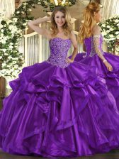 Spectacular Sleeveless Organza Floor Length Lace Up 15 Quinceanera Dress in Purple with Beading and Ruffles