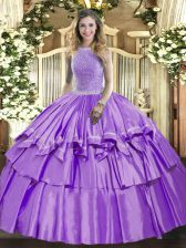Romantic Lavender Ball Gowns Beading and Ruffled Layers Quince Ball Gowns Lace Up Organza and Taffeta Sleeveless Floor Length