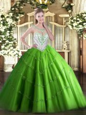 Romantic Scoop Sleeveless 15 Quinceanera Dress Floor Length Beading and Appliques Tulle