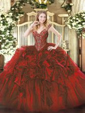 Fabulous Wine Red 15th Birthday Dress Military Ball and Sweet 16 and Quinceanera with Beading and Ruffles V-neck Sleeveless Lace Up