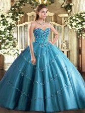 Trendy Teal Tulle Lace Up Quinceanera Dresses Sleeveless Floor Length Appliques and Embroidery