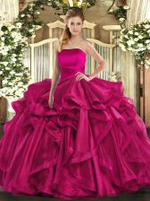 Suitable Hot Pink Strapless Neckline Ruffles 15 Quinceanera Dress Sleeveless Lace Up