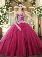Discount Hot Pink Ball Gown Prom Dress Tulle Brush Train Sleeveless Beading