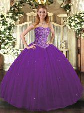 Beauteous Sweetheart Sleeveless Sweet 16 Dress Floor Length Beading Purple Tulle