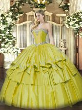 Glorious Yellow Ball Gowns Beading and Ruffled Layers Sweet 16 Dress Lace Up Organza and Taffeta Sleeveless Floor Length