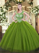 Sleeveless Tulle and Sequined Floor Length Lace Up Quinceanera Dresses in Olive Green with Beading