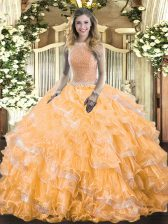 Romantic Orange Sleeveless Organza Lace Up Quinceanera Dress for Military Ball and Sweet 16 and Quinceanera