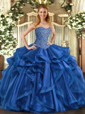 Deluxe Blue Sleeveless Organza Lace Up Vestidos de Quinceanera for Military Ball and Sweet 16 and Quinceanera
