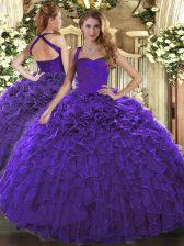 Ball Gowns Sweet 16 Dress Purple Halter Top Organza Sleeveless Floor Length Lace Up