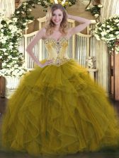 Suitable Sleeveless Organza Floor Length Lace Up 15 Quinceanera Dress in Olive Green with Beading and Ruffles