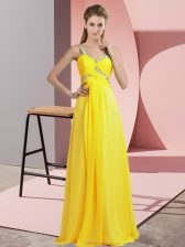 Sleeveless Chiffon Floor Length Lace Up Prom Dress in Yellow with Beading