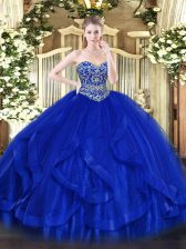 Affordable Ball Gowns Quince Ball Gowns Royal Blue Sweetheart Tulle Sleeveless Floor Length Lace Up
