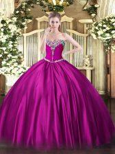 Designer Sleeveless Lace Up Floor Length Beading Sweet 16 Dress