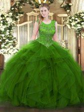 Floor Length Green Sweet 16 Quinceanera Dress Organza Sleeveless Beading and Ruffles