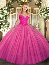 Long Sleeves Tulle Floor Length Lace Up Sweet 16 Dresses in Hot Pink with Lace