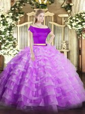 On Sale Short Sleeves Floor Length Appliques and Ruffled Layers Zipper Quinceanera Gowns with Lilac