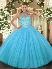 Low Price Aqua Blue Tulle Lace Up Halter Top Sleeveless Floor Length Quince Ball Gowns Beading and Embroidery